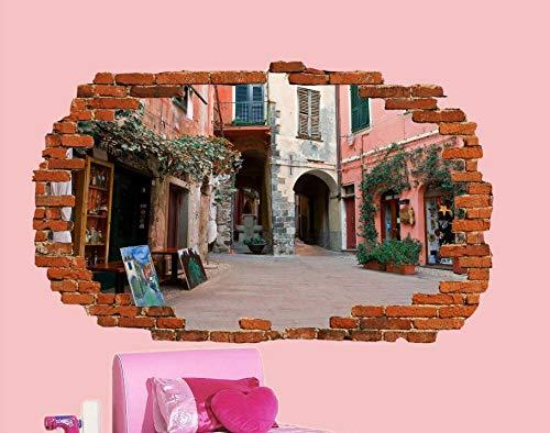 Pegatinas de pared con vista 3D, tienda central, pegatina de pared artística, decoración de pared artística, calcomanía Mural-50CM x 70CM