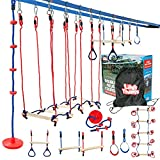 Ninja Slackline Obstacle Course for Kids - 80 Foot Line - Monkey Bars Playground Equipment - Ninja Warrior Course with Monkey Bars for Kids - (Rickety Bridge Edition) - Patented Double Line