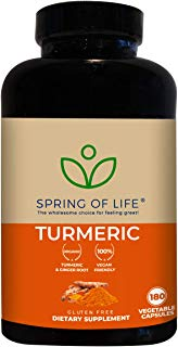 Spring of Life Turmeric Curcumin with Bioperine 1500mg – with 95% Curcuminoids – Extra Strength Formula for Maximum Absorption, Joint Comfort & Mobility – Gluten Free - 180 Veggie Caps