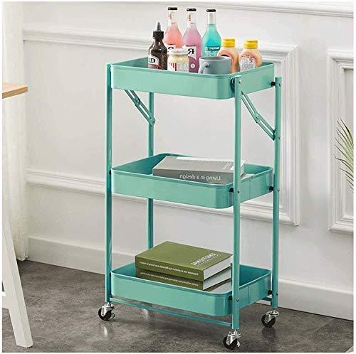 Carros de almacenamiento Trolley de almacenamiento 3-nivel, estantería organizador Carro de metal Trolley Organizer carro con ruedas y cestas para el baño de la cocina de la oficina, 45 * 29.5 * 77cm