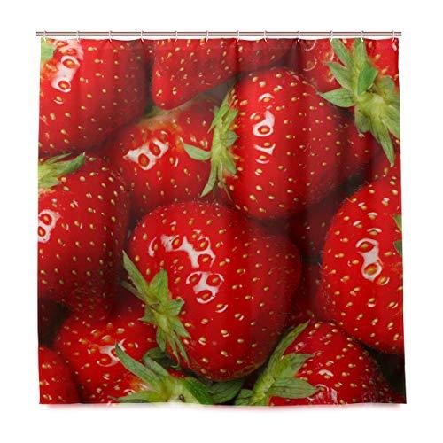 WowPrint Duschvorhang Süße Erdbeere wasserdichte Badevorhänge für Badezimmer Dekorative 182 x 182 cm mit 12 Haken
