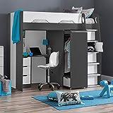 High Sleeper Storage Bed, Happy Beds Pegasus Grey Wood Modern Desk Wardrobe Drawers Cupboards Loft Bunk  3ft Single (90 x 190 cm) Frame Only