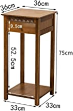 Garden decoration Bamboo Chinese Retro Carving Flower Rack Shelf With Drawer Solid Wood Floor Plant Display Stand Living Room Sofa Side Coffee Table Corner Storage Rack Plant stand