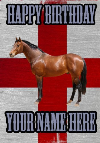 Paard St George Flag Background Happy Birthday card code cfd Wenskaart Gepersonaliseerd
