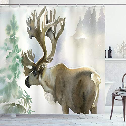 ABAKUHAUS Antlers Shower Curtain, Moose in Winter Forest Wildlife Reindeer Christmas Theme Watercolor Painting Style, Cloth Fabric Bathroom Decor Set with Hooks, 86 Inches Extra Long, Beige Green
