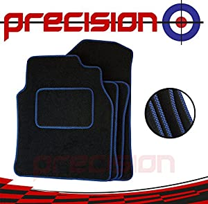 Precision  yundai TUCSON 2015-2017 Fitted Tailored Black Classic Carpet Car Mats with Blue Check SSSZZ135BLCH