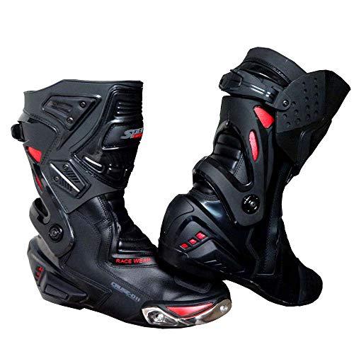 Speed MaxX LTD Herren Motorradstiefel, Schwarz, Rot, High Tech Motorrad, Rennstiefel, Sportschuhe, Lederschuhe (UK 9 – EU 43)