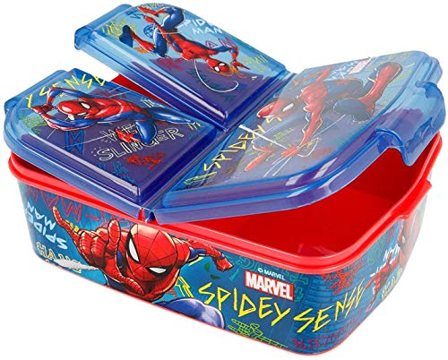 SL Sandwichera con 3 Compartimentos para niños - lonchera Infantil - Porta merienda - Fiambrera Decorada Azul