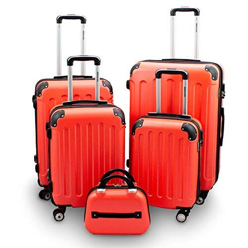 BERWIN Kofferset 5-teilig Reisekoffer Trolley Beautycase Hartschalenkoffer ABS Teleskopgriff (Orange)