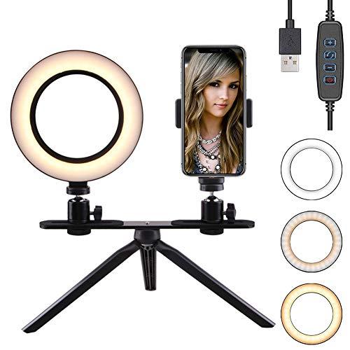 FREESOO Luz de Anillo de 6' con Trípode Soporte de Escritorio Regulable Luz LED para Cámara Mesa con 3 Modos de Luz 3200k-6500k 10 Niveles de Brillo USB para Móvil Youtube Selfie Video Maquillaje