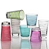 Leonardo Vario Struttura Becher klein Laguna, 6-er Set, 250 ml, türkisfarbenes Klarglas mit Colori-Hydroglasur, 018231 - 3