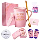 Not a Day Over Fabulous Mug - Birthday Gifts for Women - Funny Birthday Gift Ideas for Her, BFF, Best Friends, Coworkers, Her, Wife, Mom, Daughter, Sister, Aunt Ceramic Marble Mug 14 Oz Pink