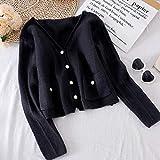 suéter de las señoras Las mujeres s primavera suéter de otoño puro Botón rayado del color perla Cardigan de punto flojo Nueva Mujer suéter Coats sweater Qf shop ( Color : Schwarz , Size : One Size )