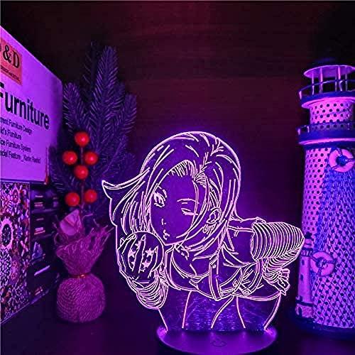 Luz nocturna 3D ilusión – Bola de dragón anime – Lámpara de noche LED – con mando a distancia regulable – Lámpara de mesa – Niños Navidad regalos de cumpleaños