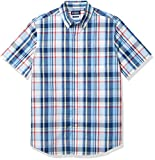 Chaps Men's Regular Fit Short Sleeve Wrinkle Resistant Performance Sportshirt, Blue Plaid, XXL