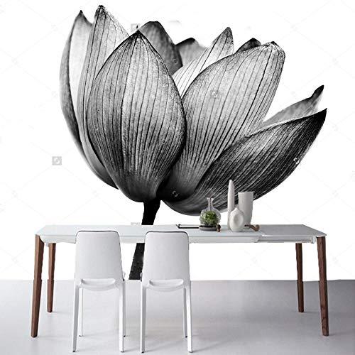 ZDBWJJ Behang zwart bloemenbehang Lotus zwart wit natuurlijk fotobehang voor woonkamer slaapkamer sofa achtergrond behang 120cmx100cm