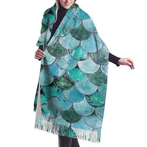 Tengyuntong Bufanda de mantón Mujer Chales para, Chaming Bufanda de cachemira de sirena Pastel para mujeres hombres ligero Unisex moda suave invierno bufandas flecos chal envuelve