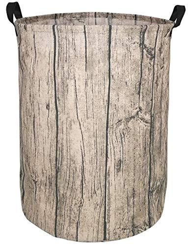 KUNRO Large Sized Round Storage Basket Waterproof Coating Organizer Bin Laundry Hamper for Nursery Clothes Toys (Tree Stump)