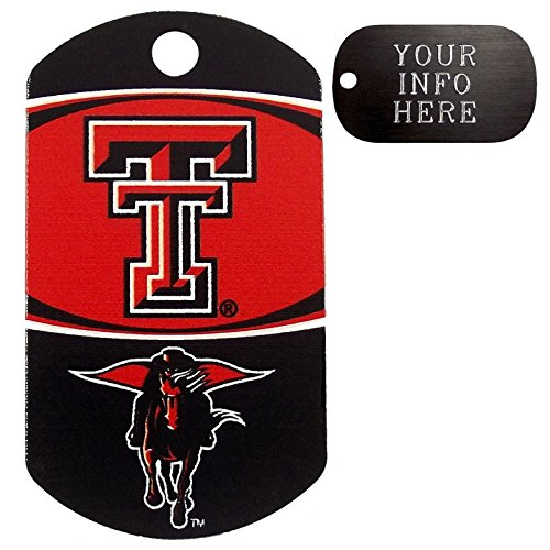 Customized Texas Tech Red Raiders NCAA Pet Tag - Military Shape