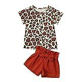 FRAUIT 2 Pezzi per Neonata Pantaloncini + Leopard Print Top T-Shirt Magliette Maniche Corte Ragazza Bambina Completini e Coordinati Pantaloncini Estive Pantaloni Corti Estivi