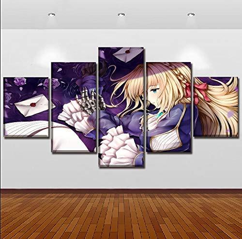 WARMBERL Canvas Paintings Toile Modulaire Affiche Décoration De La Maison Hd Imprimer 5 Pièces Anime Violet Éternelle Jardin Peinture Mur Art Salon Photo Prints en lienzo Framed