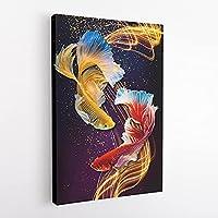 HDプリント壁アート画像中国の抽象ポスター9鯉魚の風景キャンバス絵画リビングルームの家のモダンな装飾-50x70cmフレームなし