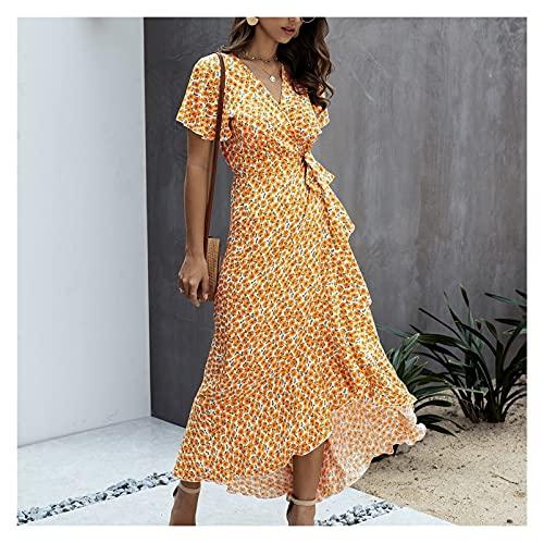 Vestido de verano, para mujer, con cuello en V, con volantes, manga corta, vestido largo de playa, vestido de fiesta para mujer con cordones (color naranja, tamaño: XXL)