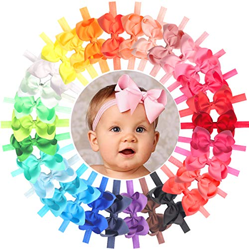 Baby Girls Headbands 30 Colors 4.5' Hair Bows Soft Elastic Hair Bands Headbands for Newborn Infant and Toddlers