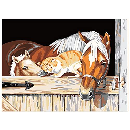 Eastdall Kit De Pintura Por Número,16 x 20 polegadas DIY pintura a óleo sobre tela pintura por número kit cavalo animal padrão