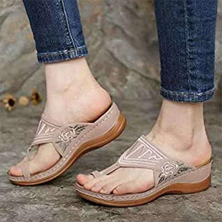Embroidery Sandals Flip Flops Women, Wedges Sandals Casual Comfortable Orthopedic Arch Support Flip Flops Sandals Summer Beach Daily,C,41