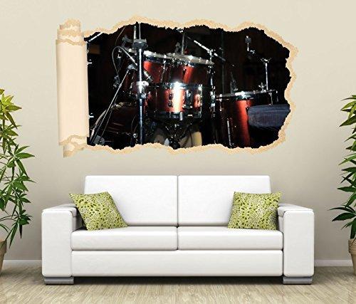 3D Wandtattoo Musik Schlagzeug Bühne Kunst Tapete Wand Aufkleber Wanddurchbruch Deko Wandbild Wandsticker 11N1278, Wandbild Größe F:ca. 97cmx57cm