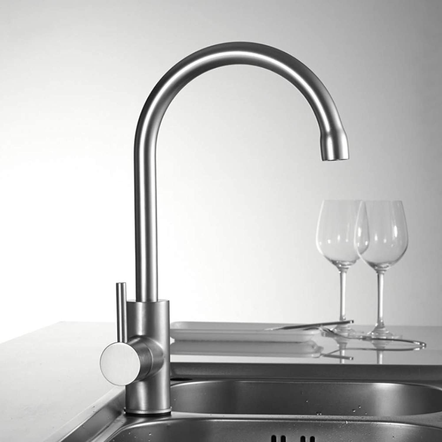Mzdpp Kitchen Faucet Degree redation Curved Outlet Pipe Tap Basin Plumbing Hardware Kitchen Sink Faucet Water Mixer Faucets