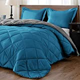 downluxe Lightweight Solid Comforter Set (King) with 2 Pillow Shams - 3-Piece Set - Ocean and Gray - Down Alternative Reversible Comforter