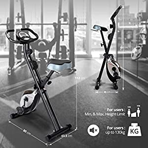 Ultrasport F-Bike Heavy Bicicleta estática de fitness, aparato doméstico, con consola y sensores de pulso en manillar, plegable, Negro/Plata