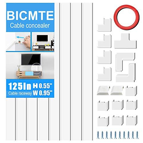 Kabelkanal,Selbstklebender Weißer Kabelkanal,PVC Kabelabdeckung ,Kabelschacht zum verstecken von Kabel, TV Kabelkanal 8 Stück (3.2M)
