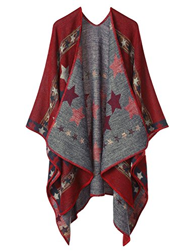 Shmily Girl Damen Poncho Herbst Winter Kariert Capes Patchwork Strickjacke Mehrere Funktion (One Size, Sterne/Rot)