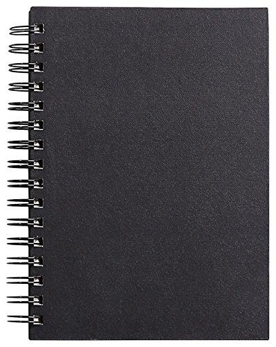 Clairefontaine 34256C - Un carnet à spirale Goldline 64 pages blanches (format Portrait) 14,8x21 cm 140g, couverture rigide noire
