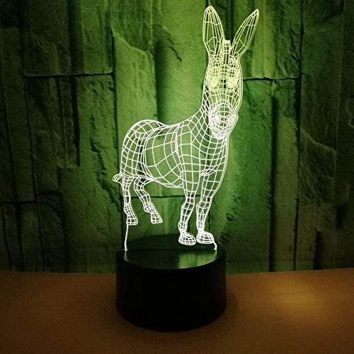 Boutiquespace La novedad burro 3D ilusión de escritorio lámpara de mesa de 7 colores cambiantes de toque USB LED luz de noche para el hogar fiesta decoración de niños regalo