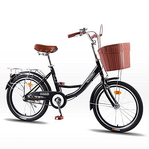MIAOYO Retro Bicicleta Urbana,Bicicleta Urbana Commuter Road para Al Aire Libre Adulto Masculino Señoras,Ligero Bicicletas De Crucero con Asiento Ajustable Ⅴ-Freno,Negro,26