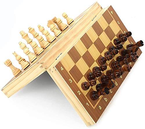 Djrh Conjunto de ajedrez de madera magnético plegable, juego de cartón de madera de viaje portátil juego de ajedrez con el cierre de la pieza interior de la pieza interior del cierre para niños y adul