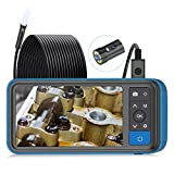 """Industrial Endoscope, ScopeAround 1080P Dual Lens Inspection Camera, 16.5ft Waterproof Borescope 4.5"""" IPS Screen Snake Camera with 6 LED Lights,Semi-Rigid Cable, 32GB TF Card (PU Bag)"""
