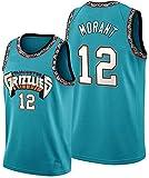 WOLFIRE WF Camiseta de Baloncesto para Hombre, NBA, Memphis Grizzlies #12 Ja Morant. Bordado, Transpirable y Resistente al Desgaste Camiseta para Fan (25th Season Classic Azul, L)