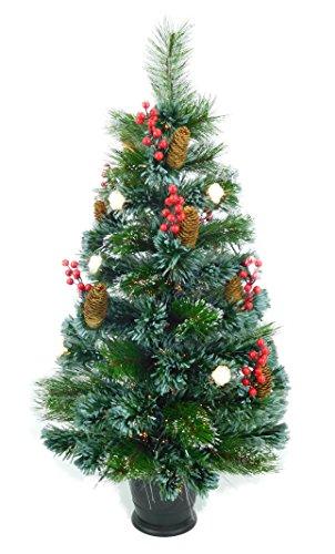 Christmas Concepts® 3ft (36 Pouce/90cm) Arbre à Fibre Optique Prelit Vert - Arbres de Noël (Cônes et Baies)