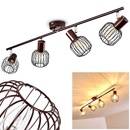 Plafoniera orientabile Cancun, in metallo marrone, a 4 luci, paralume ruotabile e orientabile, 4 lampadine attacco E14, max. 40 watt, retrò, adatta per lampadine a LED.