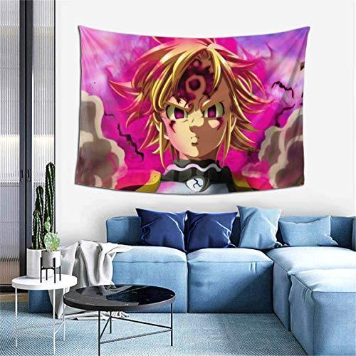 Hdadwy Dragon Wrath Meliodas Tapiz para Colgar en la Pared Tapices de Anime Arte de Pared Tapiz de Pared Decoración del hogar para Dormitorio Sala de Estar Dormitorio (40 x 60 Pulgadas)