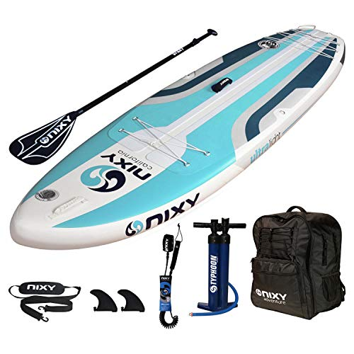 """NIXY Huntington Paddle Board Compact Travel Inflatable SUP 9'6"""" x 32"""" x 6"""" Ultra-Light Stand Up Paddleboard Built with Dual Layer Dropstitch Includes Paddle, Leash, Pump, Shoulder Strap, Carry Bag"""