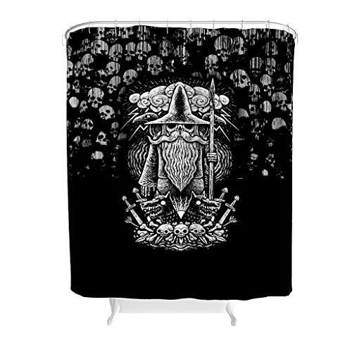 NiTIAN Douchegordijn Viking God Odin Spear Ravens Wolves patroon waterdicht ontwerp gordijn badkuipgordijn met levendige kleuren