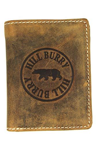 Hill Burry Vintage Leder Geldbörse Portemonnaie aus weichem Leder - braun | schwarz - Farbauswahl - 10x12,5x2,5cm (B x H x T) (tan)