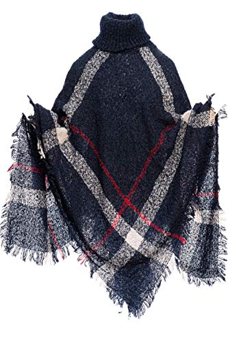 HEIZZI Poncho de Mujer, Cuello Alto, Capas a Cuadros, Chal, cárdigans, suéter