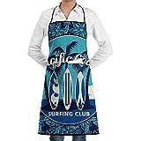 LOSNINA Grembiuli da cucina Chef da cucina per donna e uomo,per Cuoco, Master Chef,Grembiule da Ristorante BBQ Bar Chef Cucina,Poster di club di surf tropicale con palme e tavole da surf